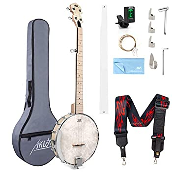 5 String Banjo Adjustable Full Size Maple Banjo Open Back Remo Head with 2 Tuning Wrench 4 Picks Strings Tuner Strap Ruler Cleaning Cloth Gig Bag for New Beginners Professionals