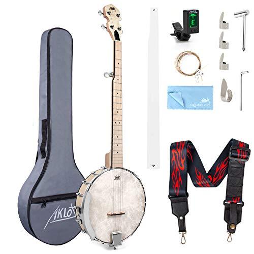 AKLOT Banjo 5 cuerdas, 39 pulgadas Maple Banjo Open Back Remo Head con llave de afinación Picks Strings Tuner Strap Ruler Paño de limpieza Bolsa de transporte para nuevos profesionales principiantes