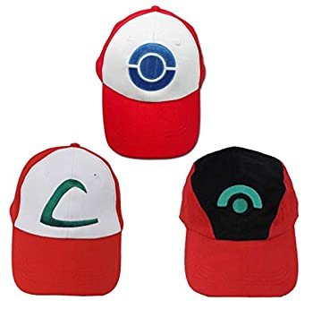 Combination Packaging Pokemon Ash Ketchum Baseball Snapback Cap Hat for Adult Embroidered Adjustable Red  3in1