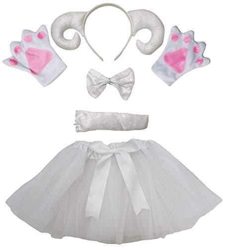 Petitebelle Tut para la cabeza de cabra, 5 piezas, disfraz de nia de 1 a 10 aos (blanco, 5 a 10 aos)