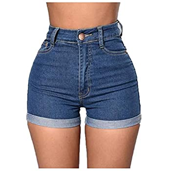 Womens Summer High Waist Denim Shorts Skinny Jeans Pull-On Slim Beach Holiday Casual Skinny Pants Shorts with Pockets