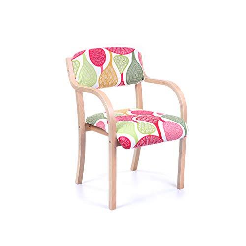 LJZslhei Stuhl Dining Chair Einfacher einzelner Schreibtisch-Stuhl Armrest-Stuhl-Computer-Stuhl Kreativer hölzerner Stuhl (Color : Wood Color)