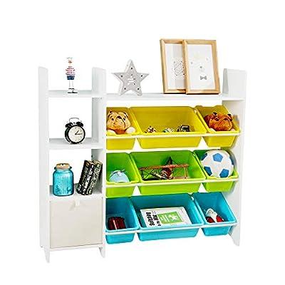 MallBest 4-Tier Kids' Toy Storage Organizer Shelf - 100% Solid Wood,Children's Storage Cabinet with 9 Plastic Bins and 1 Cloth Storage Box