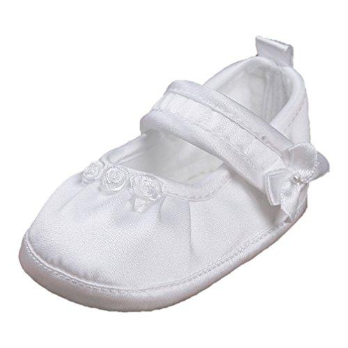 Festliche Taufschuhe Babyschuhe Ballerinas Satin Weiß Gr. 19 Modell 3580-w