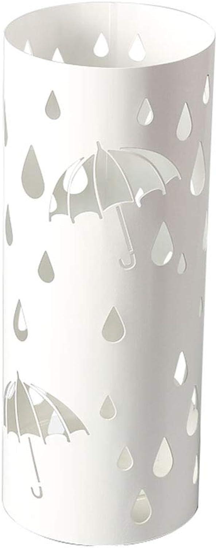 Metal Umbrella Holder, Stand-Up Umbrella Stand, White Round Cutout Canes Walking Sticks Storage Barrels, 49cm  19.5cm, Butterfly Umbrella Square