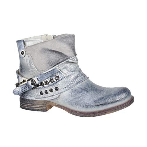 Elara Damen Stiefeletten Biker Boots mit Nieten Chunkyrayan BZ8399-KB Silver-37