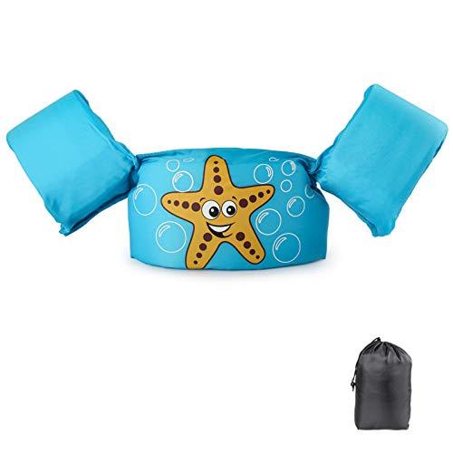 Schwimmflügel Schwimmweste mit Schultergurt für Kinder Kleinkinder von 2-7 Jahre 15-30kg Schwimmen Lernen Schwimmhilfe mit verschiedenen Designs für Jungen und Mädchen (Seestern)