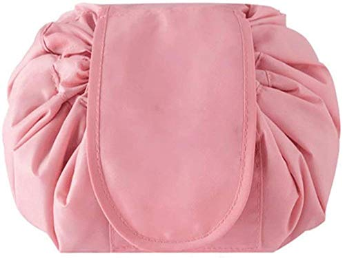 Bolso cosmético Perezoso Dibujo portátil Viaje Casual Impermeable Bolso cosmético mágico Adecuado para Mujer niña Gran Capacidad-Rosa