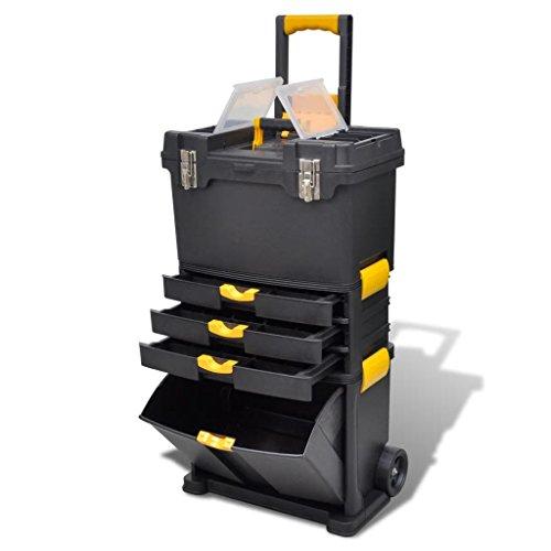 Galapara Rollende Werkstatt aus Kunststoff – Werkzeugwagen leer – Tragbarer Werkzeugkoffer Trolley Werkzeugaufbewahrung Vielseitige Werkzeugbox für Kleinteile und große Werkzeuge 46 x 28 x 82 cm