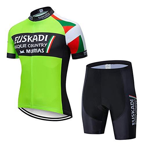 AJL Italien Team Green Herren Radtrikot Kurzarm Sommer PRO, Racing Club Rennrad Outdoor Bike Trikot, Atmungsaktives Quick Dry Compression Cycle Combo Set (Color : B, Size : Medium)