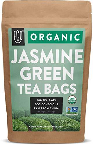 Organic Jasmine Green Tea Bags | 100 Tea Bags | Jasmine Scented Green Tea | Eco-Conscious Tea Bags in Kraft Bag | by FGO