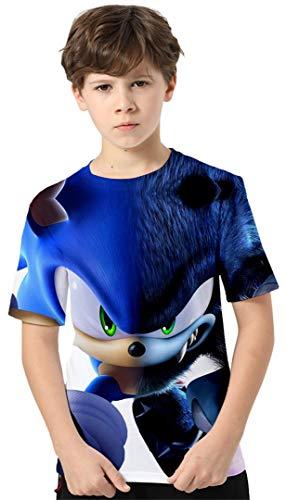 Silver Basic Camiseta de Sonic para Niños y Niñas Inspirada en la Popular Película Sonic The Hedgehog Sonic Cosplay Bonito Regalo para los Fanáticos del Cine 100,87Cosplay de Sonic Azul-1
