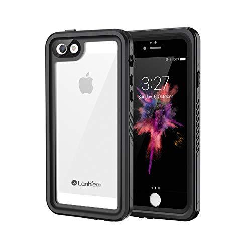 Lanhiem Funda Impermeable iPhone 5 5S SE, Carcasa Sumergible Resistente Al Agua IP68 Certificado [Protección de 360 Grados], Carcasa para iPhone 5 5S SE con Protector de Pantalla Incorporado,Negro