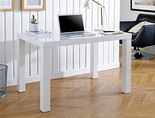 Furniturebox UK Berlin White High Gloss Computer PC Home Executive Study Office Corner Desk Drawer