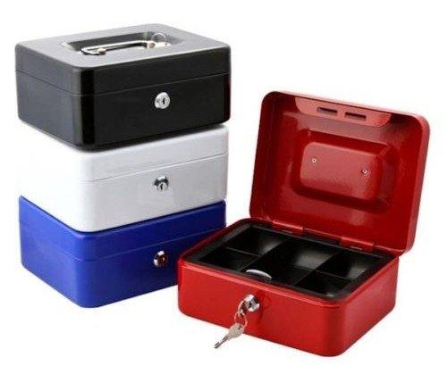 takestop Cassetta di Sicurezza 602 Box in Ferro Porta Monete VALORI Portamonete Soldi CASSETTO 125x95x60 MM Colore Casuale