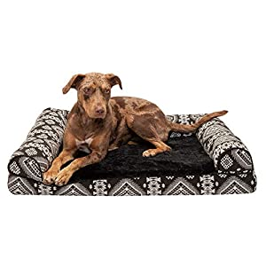 Furhaven Pet Dog Bed – Memory Foam Plush Kilim Southwest Home Decor Traditional Sofa-Style Living Room Couch Pet Bed with Removable Cover for Dogs and Cats, Black Medallion, Large