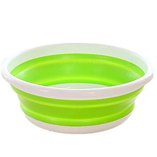 Fan-Ling Simple Life Folding Bucket,Portable Camping Fishing Car Washing Tool, Outdoor Travel Folding Bucket Wash Basin Collapsible Portable Waterproof,Saves Space,29 X 11cm (Green)