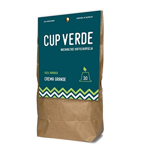 CUP VERDE – 30 Kaffeekapseln Nespresso* kompatibel. Biologisch abbaubar – fair gehandelt - schonend geröstet, kräftiger Geschmack - wenig Verpackung. Crema Grande