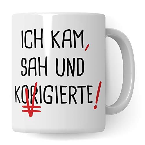 Pagma Druck Lehrer Tasse lustig, Lehrerin Geschenk Kaffeetasse Geschenkidee Lehrerin, Kaffeebecher Deutschlehrer Schule Deutsch Unterricht Becher Witz