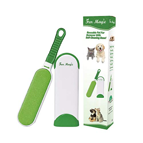 Fur Magic Pet Hair Remover Lint Brush With Self-Cleaning Base, Improved...