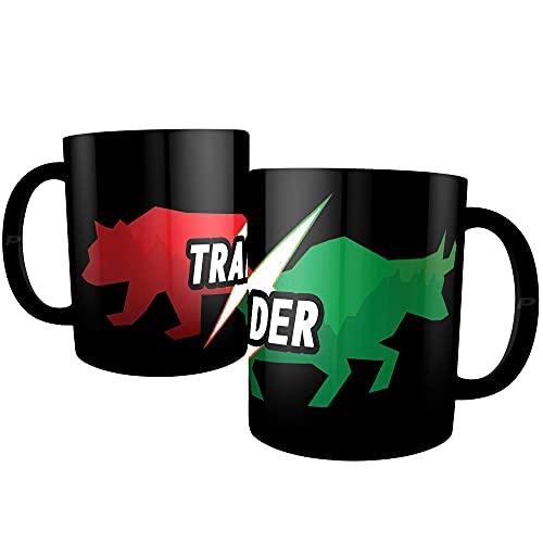 Caneca Day Trader Preta Presente Investidor - Touro x Urso
