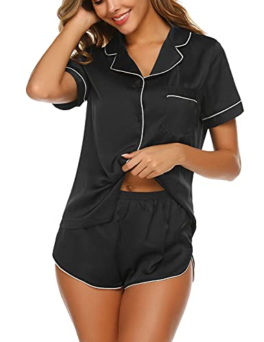 Ekouaer Women's Sexy Satin Shorts Pajama Set Short Sleeve Sleepwear Nightwear Loungewear (Black,Medium)