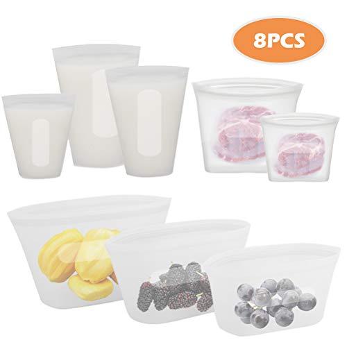 Odziezet Bolsas de Silicona Reutilizables para Alimentos con Cierre, Contenedor de Almacenamiento para Frutas Verduras Microondas Refrigerador Almuerzo Viaje Aptas para el Lavavajillas
