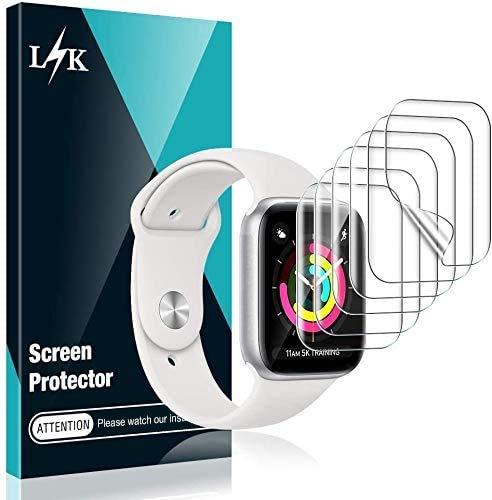 L K 6 Stücke Schutzfolie für Apple Watch 38 mm Series 1/2/3, 40mm Series 6/5/4/SE HD klar Flexible TPU Folie [Blasenfreie][Kompatibel mit Hülle][Einfache Installation] Displayschutzfolie