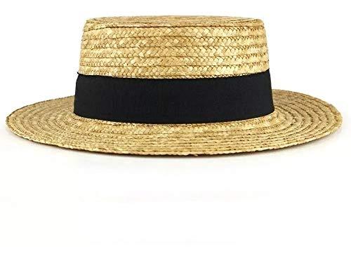 Chapéu de Palha Natural Palheta Clássica Boater Chapelaria Vintage