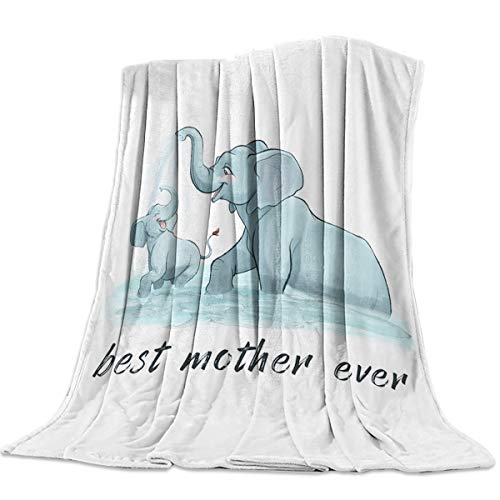Throw Blankets Best Mother Ever Fuzzy Soft Bed Cover Bedspread Microfiber Luxury Blanket for Travel Stadium Camping Couch Sofa Chair Elephant Play in Water