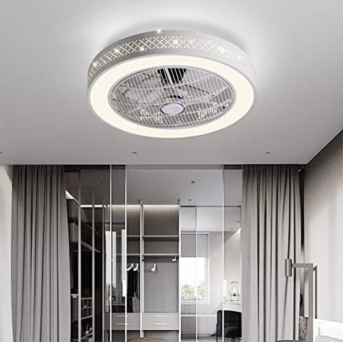 Ventilador de techo luz de ventilador de techo 580 mm restaurante redondo restaurante ventilador de techo invisible techo techo con un ventilador de techo con luces LED y control remoto-C
