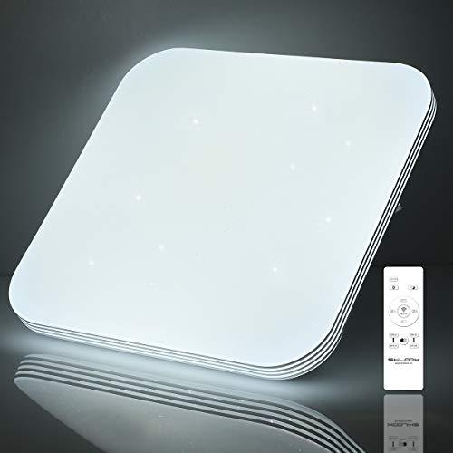 Led Deckenleuchte Dimmbar mit Fernbedienung, 24W Deckenlampe für Schlafzimmer Kinderzimmer Küche Wohnzimmer, 3000K-6500K, Quadratisch Flach 33CM