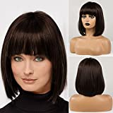 HAIRCUBE Parrucche di capelli umani naturali per le donne Parrucca marrone scuro diritta affascinante corta con frangia Parrucca da donna quotidiana…