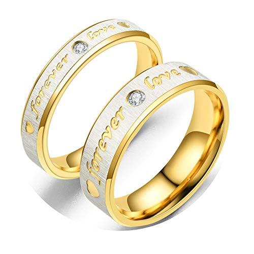 Epinki Anillo Compromiso Acero Inoxidable 2Pc Anillo Grabado Forever Love Circonita Blanca Oro Anillo de Compromiso para Talla Mujer 17 & Hombre 22