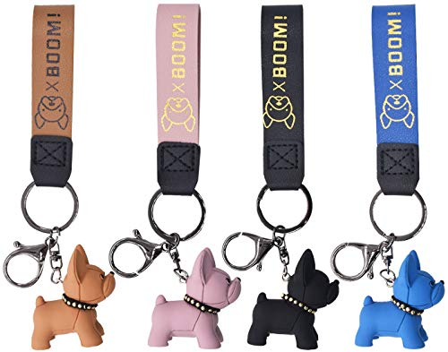 Miotlsy Llavero Bulldog Francés - 4 Piezas Llavero Bulldog, Francés Punk Bulldog Llavero Cuero Llavero Adecuado para Mujeres u Hombres para Decorar Mochilas, Llavero de Pareja, Maletas llaveros