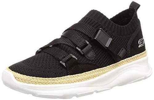 Skechers BOBS de las mujeres Surge-Sky luz resbalón en espuma de memoria zapatillas de correr, negro (Negro), 38.5 EU
