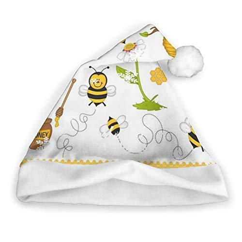 ZVEZVI Funny Bee Bumblebee Gorro de Pap Noel Amarillo, Unisex, Ribete de Piel Blanca, Gorro de Navidad de Calidad, Gorro de Pap Noel