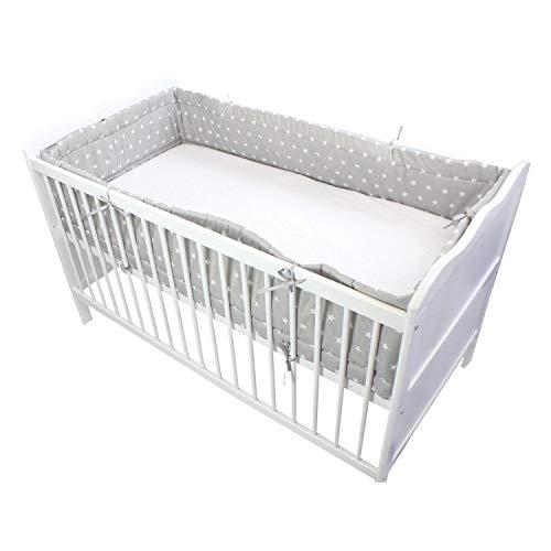 TupTam Baby Nestchen für Babybett Gemustert, Farbe: Sterne Grau, Größe: 420x30cm (für Babybett 140x70), sortiert