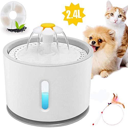 E-MANIS Fontanella per Gatti,Distributore di Acqua per Gatti con 2.4 Litri Grande capacità con LED Livello dell\'Acqua con 1 Filtro Fontana per Gatto e Cane e Bacchetta interattiva di Piume