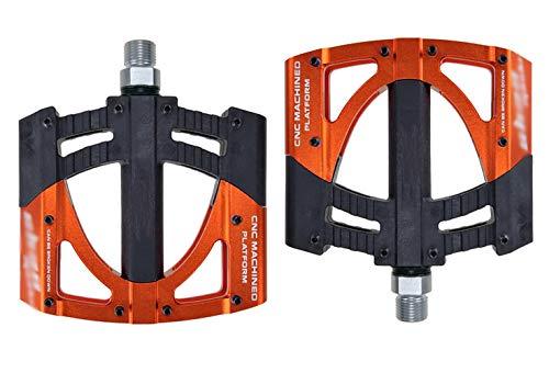 SPTIDY Fahrrad Pedalen Ultralight Mountainbike Pedale Rennrad Fahrradpedale 9/16 Zoll, Aluminiumlegierung MTB Pedale mit 3 Abgedichtete, rutschfest Trekking Pedale mit Installationswerkzeug,Orange