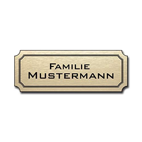 Gravur Wunschname Familienschild Pokalschild Weiss//blau Briefkastenschild Namensschild T/ürschild