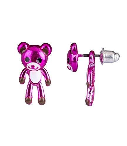SIX Pendientes infantiles con diseño de osito, parte delantera trasera, en color rosa con diseño de oso de peluche (296-975)