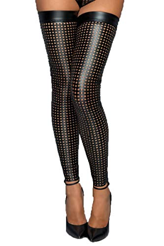 Noir Handmade Schwarze Damen Lasercut Strümpfe slebsttragende wetlook Stockings mit Silikonband XL