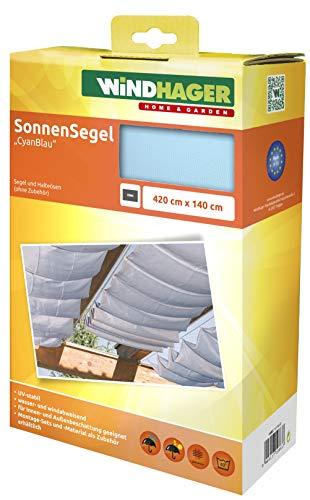 Windhager Sonnensegel für Seilspanntechnik, Wintergarten und Terrassen Beschattung, Seilspannmarkise, 420 x 140 cm, 10883, Cyanblau