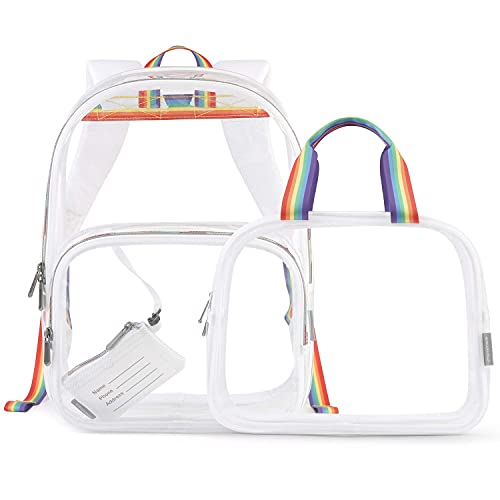 mommore Clear Backpack 2 set Heavy Duty Transparent Backpack See Through Travel Bag
