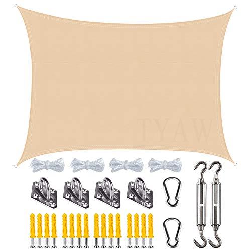 Vela de Sombra, Toldo Vela Rectangular con Kit de Montaje,Protección Rayos UV Impermeable,para Patio Exteriores Jardín-Beige|| 2x2m(6.5x6.5ft)