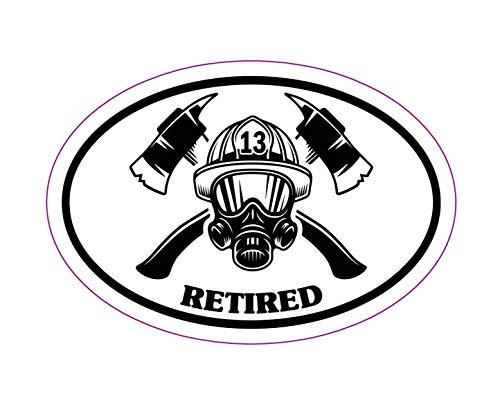 WickedGoodz Oval Firefighter Retired Decal - Fire Department Bumper Sticker - Retired Firefighter Sticker