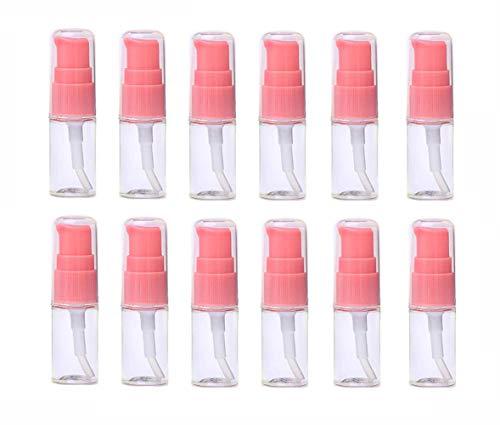 VASANA 12 x 10 ml tragbare leere nachfüllbare transparente Kunststoff-Lotion-Pumpflasche mit rosa Pumpkopf für Kosmetik, Make-up, Gesichtscreme, Lotion, Emulsion, Probe, Verpackung, Fläschchen