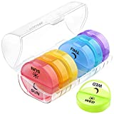 Daily Pill Organizer (Twice-a-Day) - Weekly AM/PM Pill Box,Round Medicine Organizer,7 Day Pill Container,Vitamin Organizer for Vitamin/Fish Oils/Supplement (White)