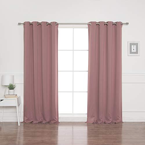 "Best Home Fashion Blackout Curtain Panels - Premium Thermal Insulated Window Treatment Blackout Drapes for Bedroom - Antique Bronze Grommet Top – Mauve - 52"" W x 84"" L - (Set of 2 Panels)"